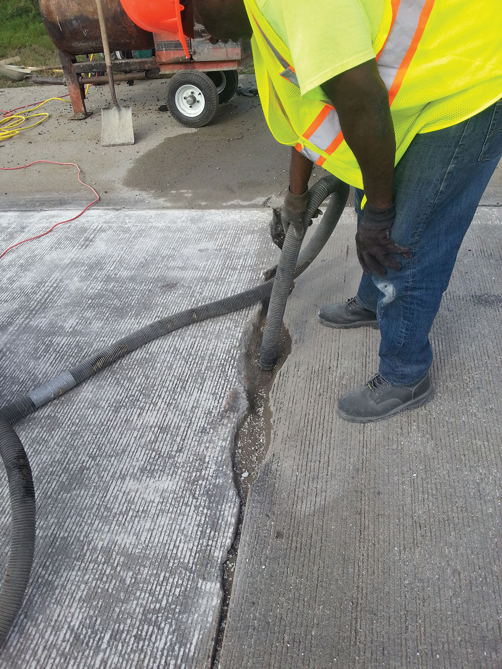 Preparing road damage for repair