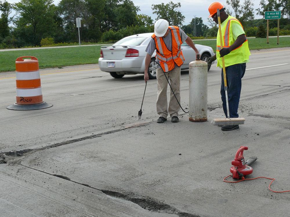 Preparing a road for repairs