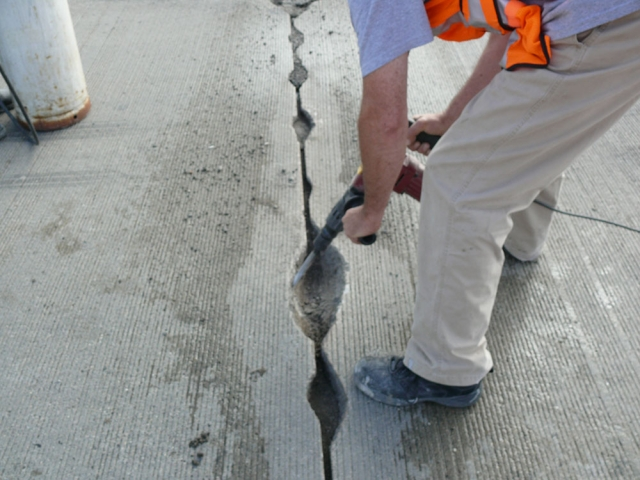Road damaged being fixed